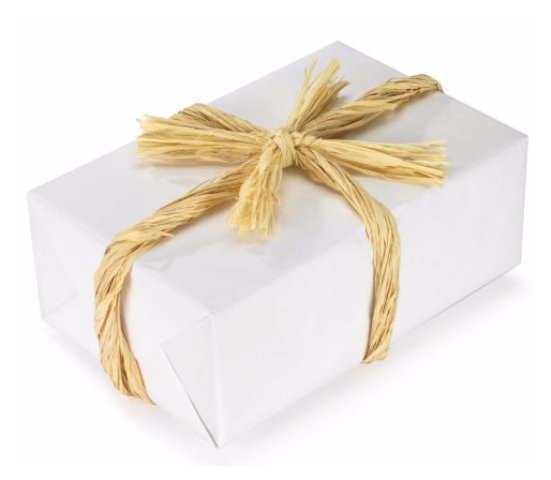 Caja regalo con rafia natural biodegradable